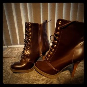 Brown high heel ankle boots .. size 8